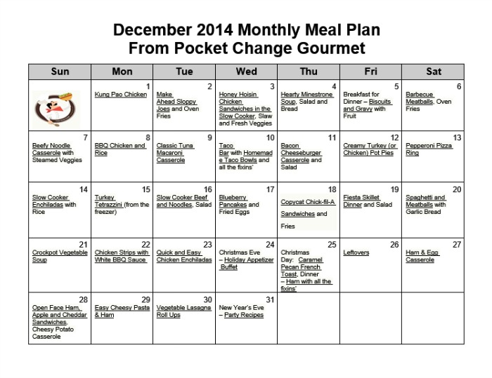 December Monthly Meal Plan2014 Recipe Pocket Change Gourmet - meal plans