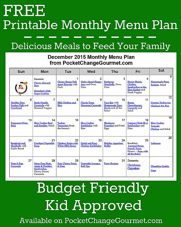 December Menu Plan 2015 Pocket Change Gourmet