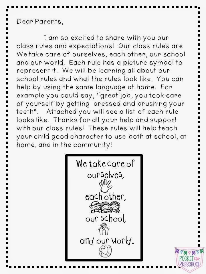 Classroom Rules and Expectations in Preschool - Pocket of Preschool - teacher letter to parents about behavior problems