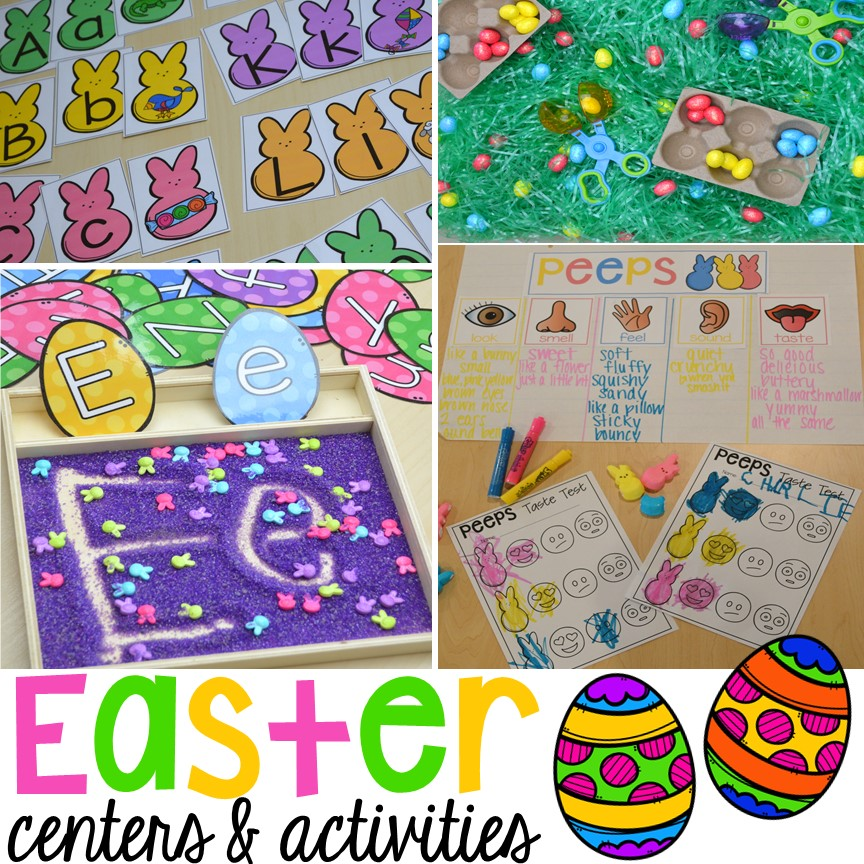 Easter Centers and Activities for Little Learners (Peep Freebie - sticker chart
