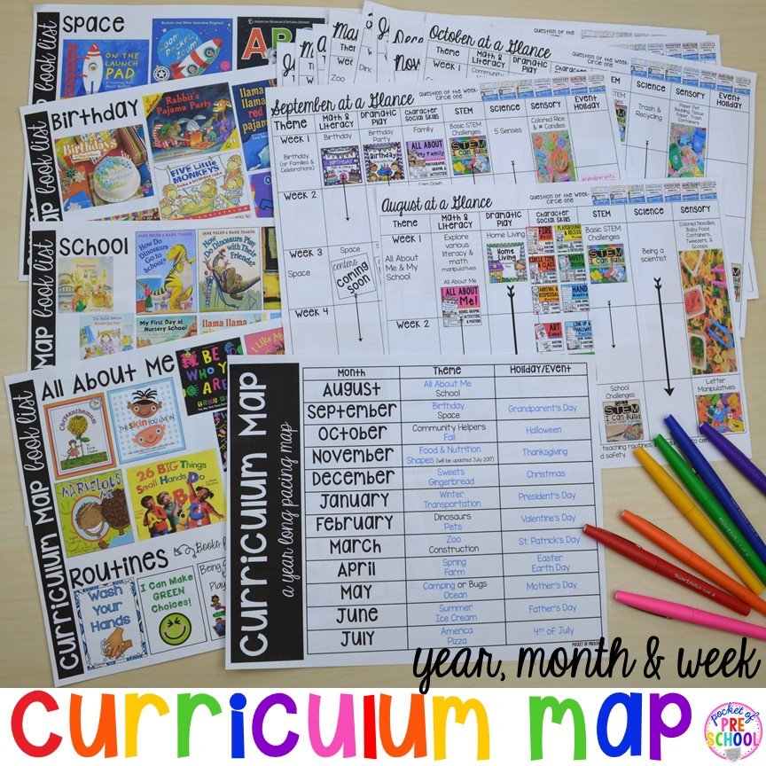 Curriculum Map (Preschool, Pre-K, and Kindergarten) for the whole