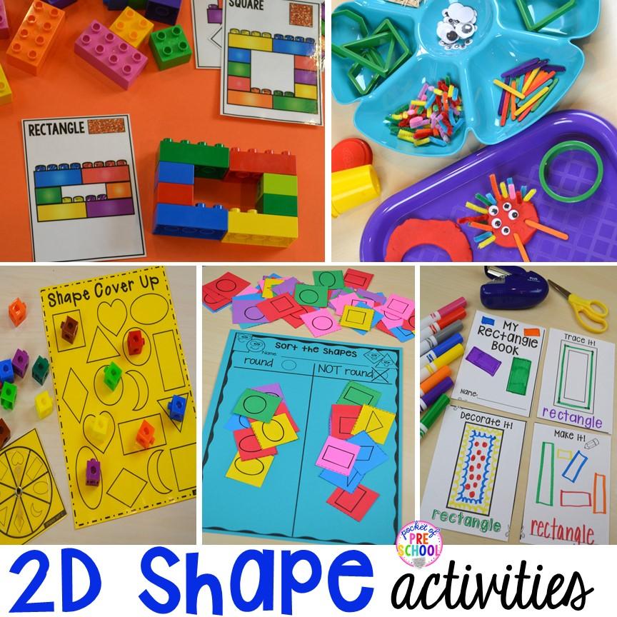 2D Shape Activities for Preschool, Pre-K, and Kindergarten - Pocket