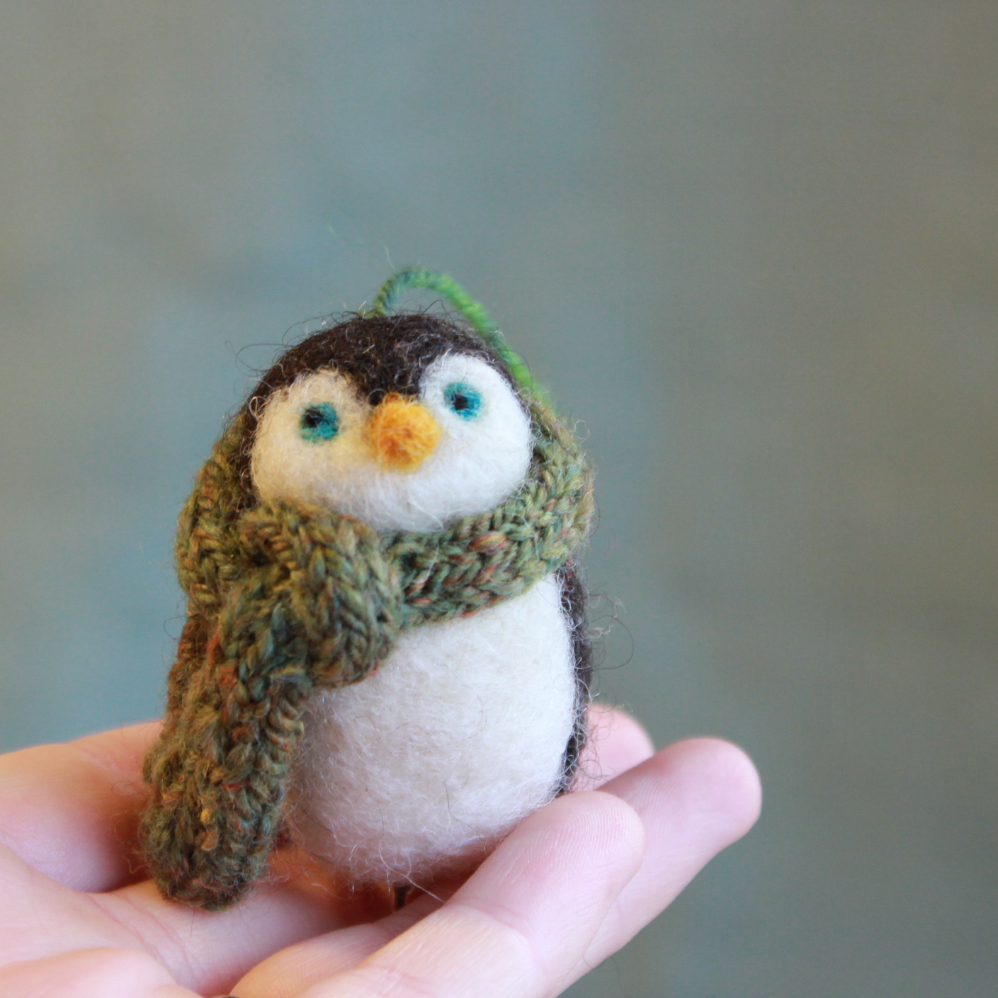 Penguin Christmas Ornament in a Handspun Hand-knit Scarf! | Pocket ...