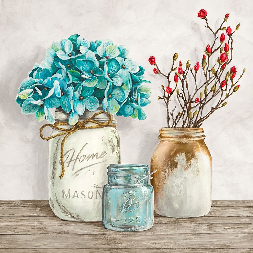 Kunstdrucke Online Floral Composition With Mason Jars I