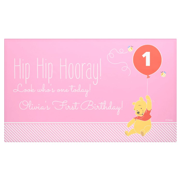Winnie the Pooh Baby Girl - First Birthday Banner - Custom Fan Art