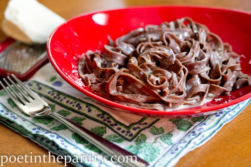 bowl of chocolate pasta