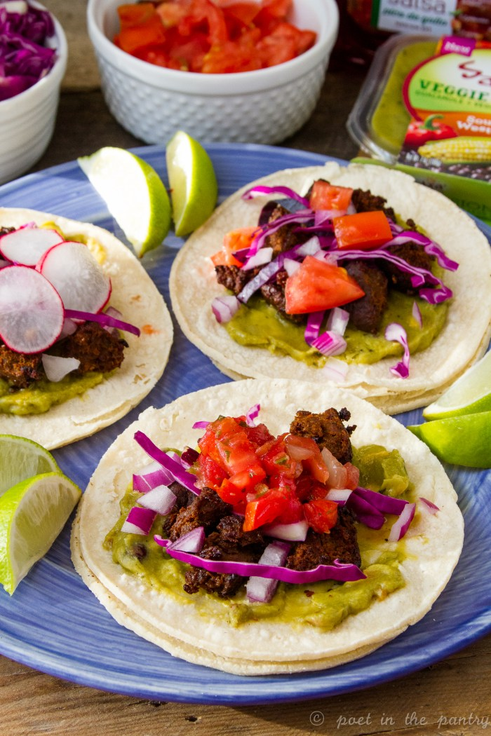 Make any night taco night with some tasty chorizo and an assortment of toppings, including Sabra's new Veggie Fusions guacamole! {sponsored post}
