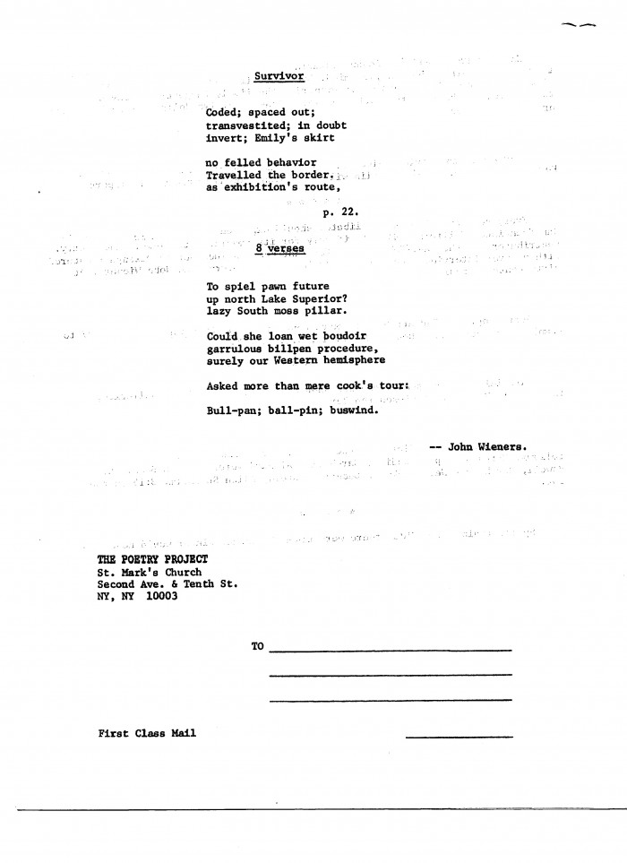 poems by John Wieners from The Poetry Project Newsletter Po-emz - loan document