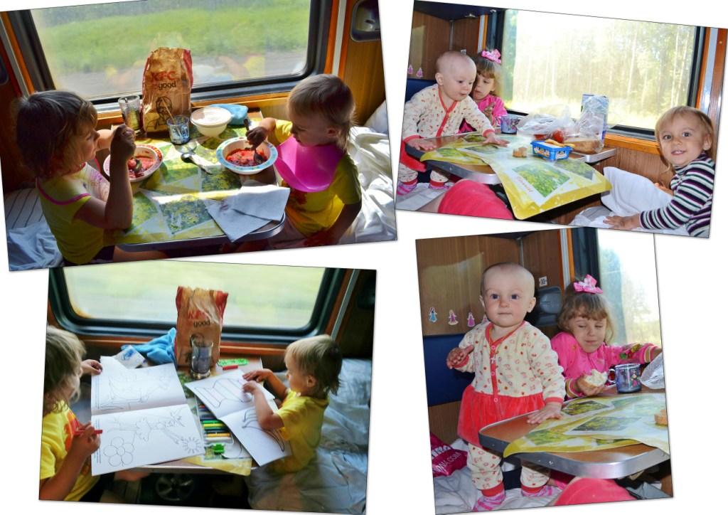 трое детей в поезде погодки