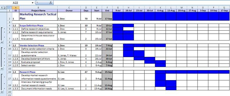 project planning calendars