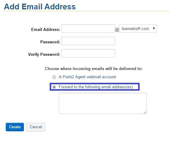 Create an email forwarder \u2013 Point2 Customer Care