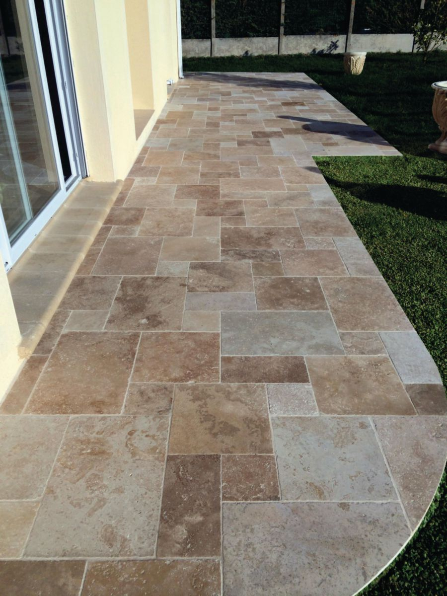 Hydrofuge Terrasse Point P Creastone - Dallage Calcaire Travertin Mix Beige - Opus
