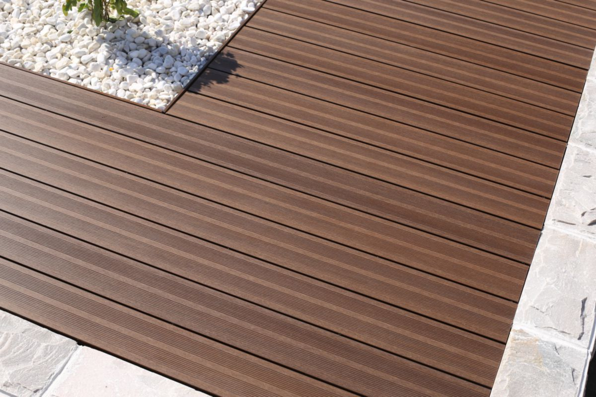 Terrasse Composite Cout Lame De Terrasse Bois Composite Co Extrudé Patio L 3 60 M Brun 22 5x145 Mm