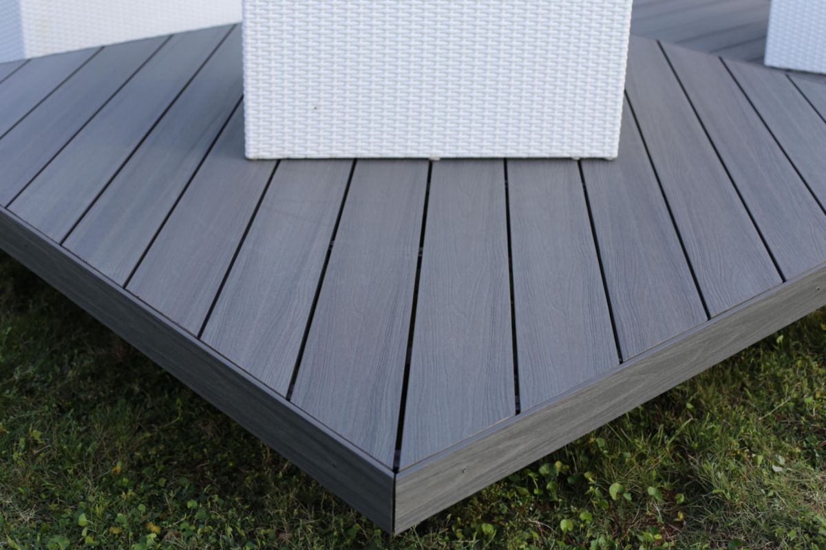 Pose Lame Composite Terrasse Profil De Finition Pour Lame De Terrasse Patio Bois Composite 84x10 Mm L 2 4 M
