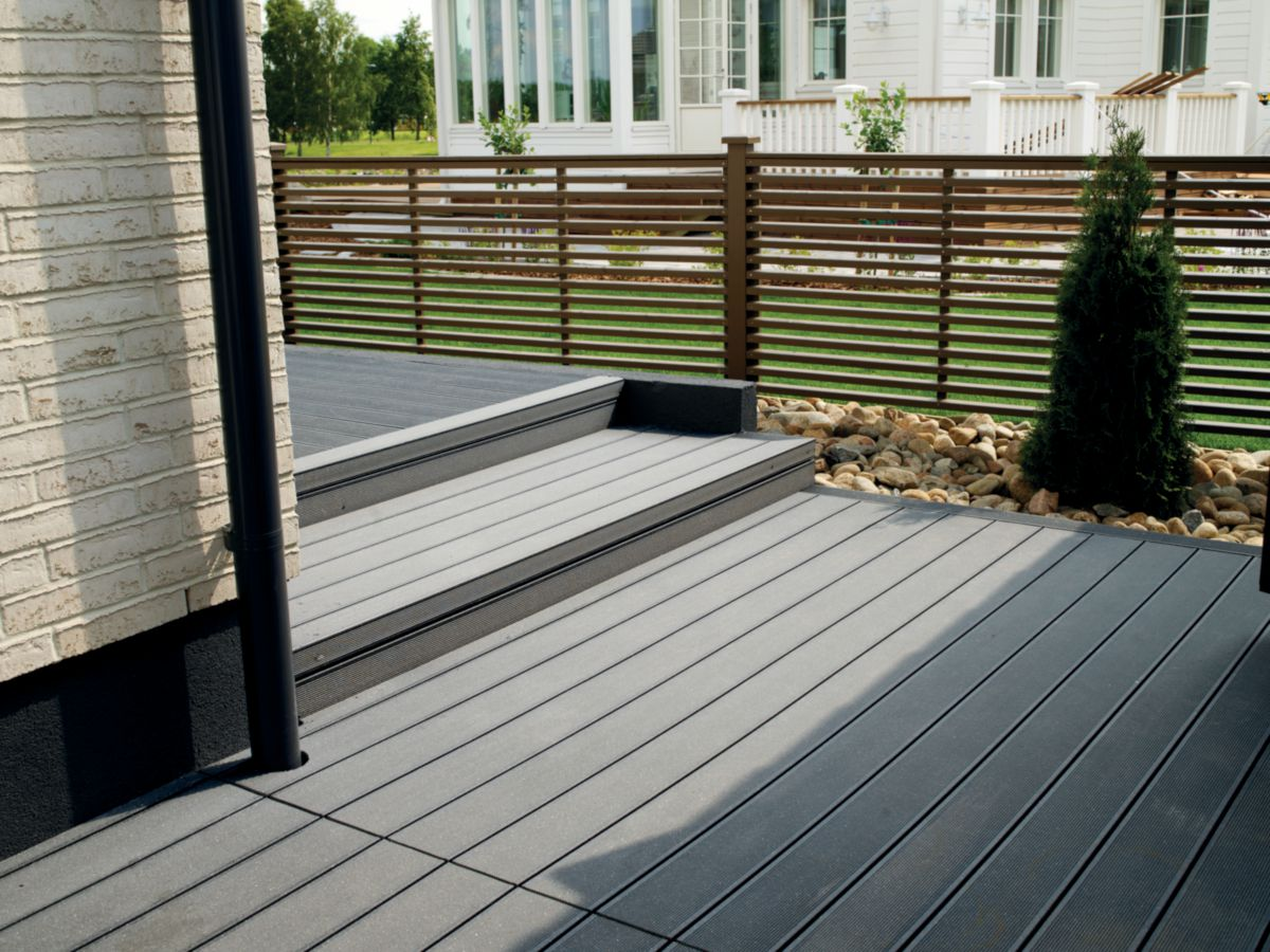Terrasse Composite Gris Clair Lame De Terrasse En Bois Composite Virginia Gris 28x127 5x2400 Mm