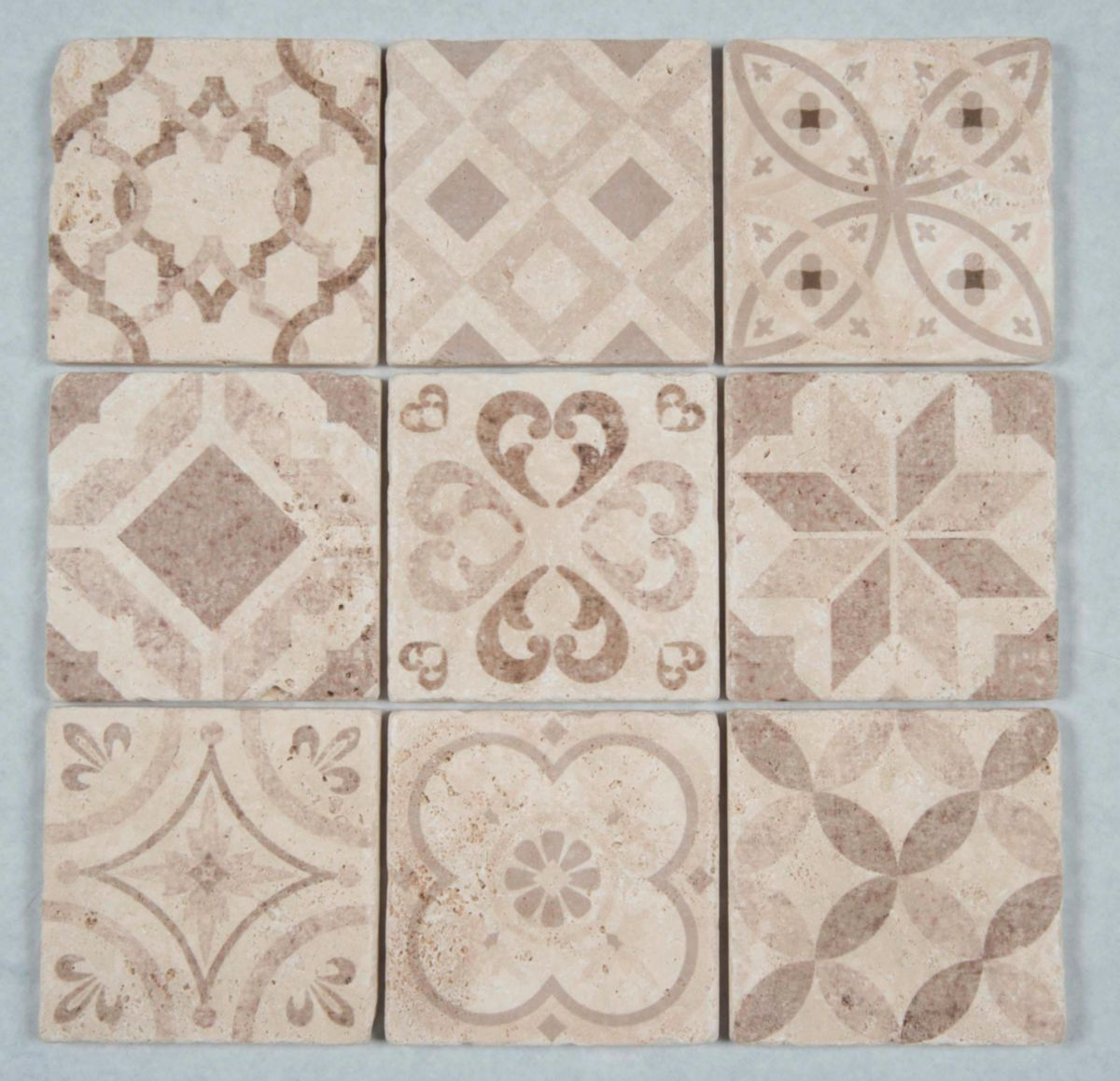 Faience Travertin Carrelage Mural Intérieur Pierre Naturelle Travertin Décor Multicouleurs Carreau 10x10 Cm Lot De 9 Pcs