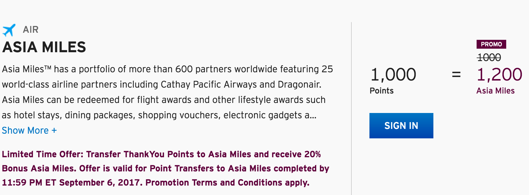 Miles And More Points Get A 20 Bonus When Converting Thankyou Points To Asia Miles