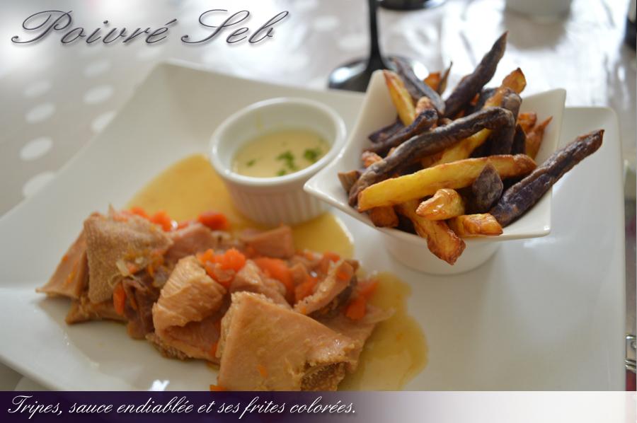 Tripes, sauce endiablée et ses frites colorées