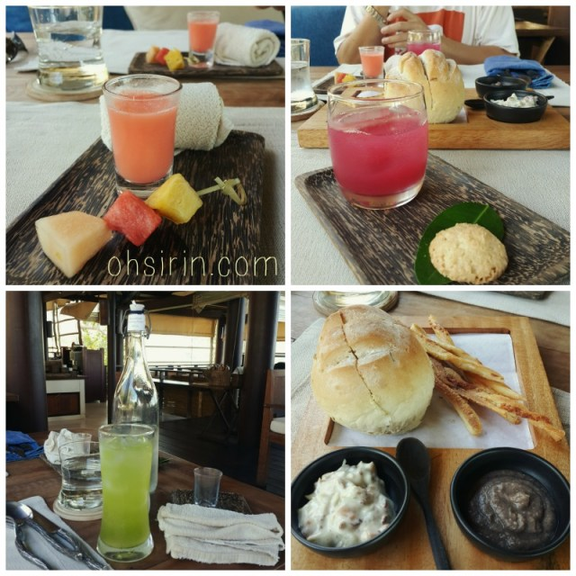Their refreshing juices, and platter of home-baked breads as appetizer.