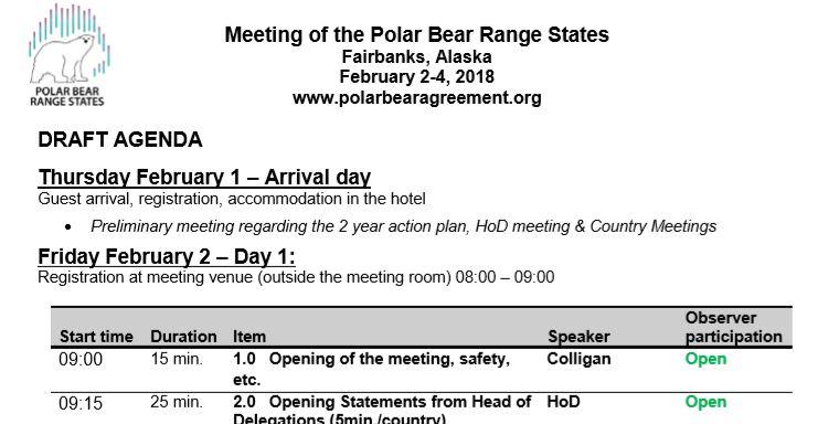 Meeting Agenda - Polar Bear Range States