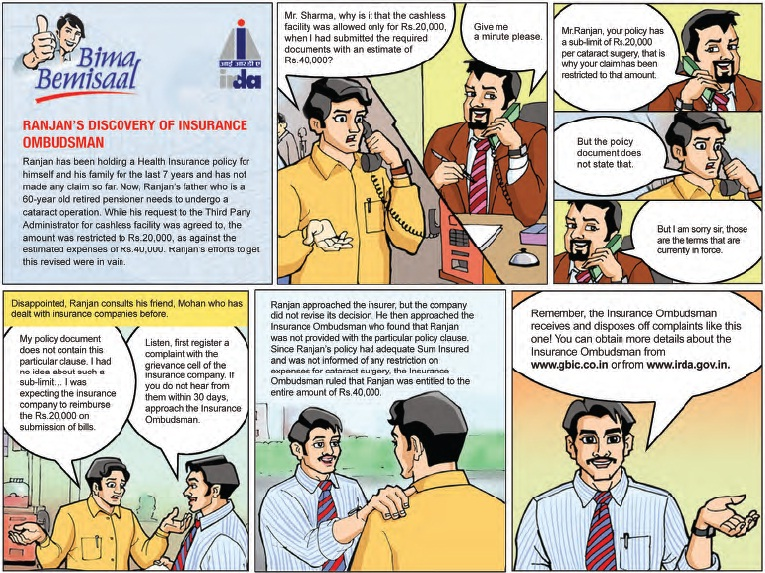 Comic strip from IRDA consumer education website on Discovery of - company policy