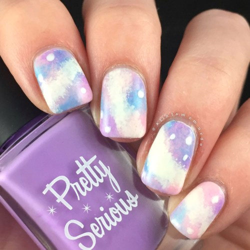 Pastel galaxy nails using Pretty Serious Cosmetics and Powder Perfect polishes