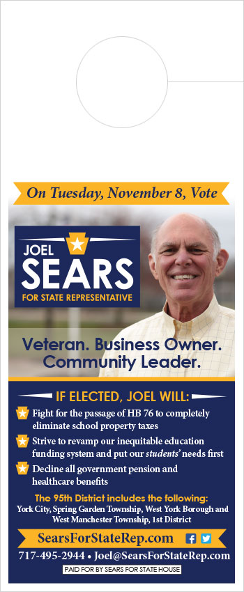 Sears for State Rep Door Hanger Political Graphics USA
