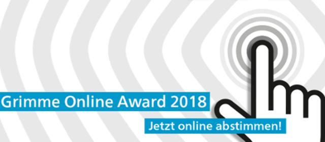 """""""Grimme Online Award - Jetzt online abstimmen"""" Schriftzug mit Mauszeiger und Finger"""