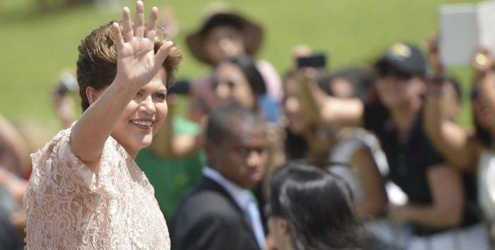 A presidente Dilma Rousseff durante a cerimônia de posse de seu segundo mandato. (Foto: Marcelo Camargo/ Agência Brasil).
