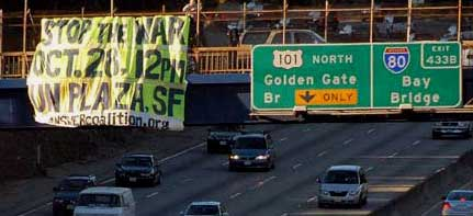 S.F. banner drop. ANSWER Coalition