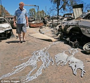 australia fire melted wheels