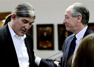 Ward Churchill, left, and his attorney David Lane