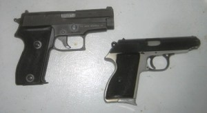 Two 9mm pistols available in any gun store-- even in California.