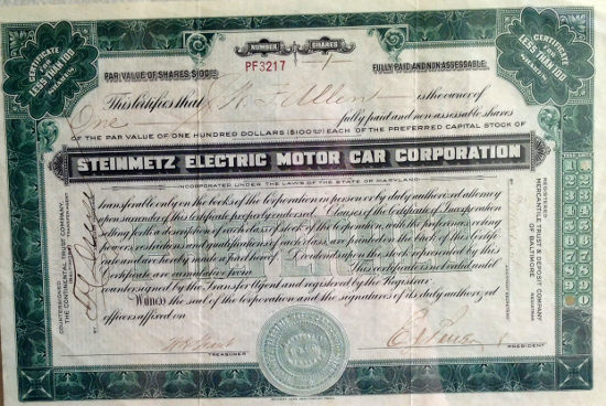 Steinmetz Electric Motor Car Corp stock certificate
