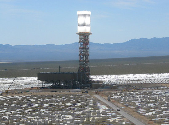Ivanpah. One of the few new grid-scaler solar plants, in CA near Primm NV. Credit: ivanpahsolar.com/