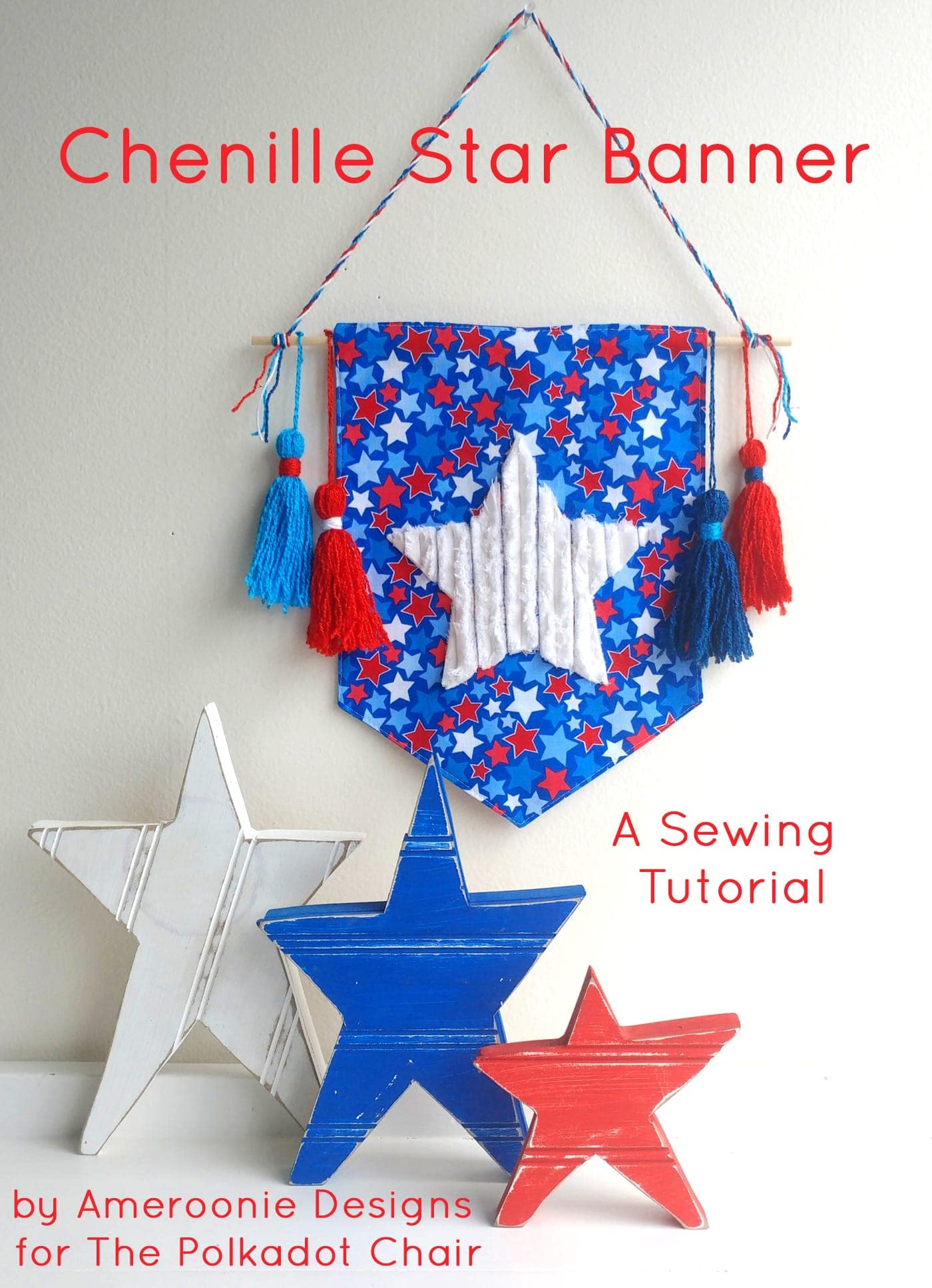 Chenille Star 4th Of July Banner Diy 4th Of July Decorations