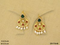 Polki Earings : Paanshape Moti Antique Earrings