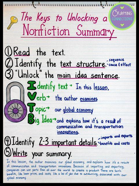 Best 25+ Summarize nonfiction ideas on Pinterest Summarizing - sample article summary template