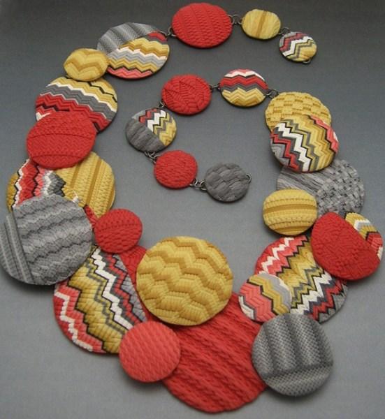 "Judy Belcher, Knitting Missoni, 2013,  25""l overall x 5""w (max), polymer, sterling silver"