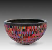 "Cynthia Tinapple and Blair Davis, Red Stripped Bowl 2013, 10 1/2"" diameter x 6"" D, polymer on-lay, Ohio walnut"