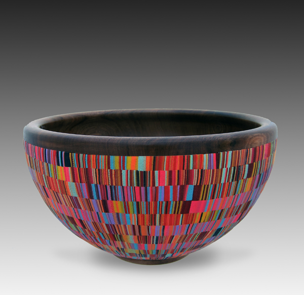 "Cynthia Tinapple and Blair Davis, Red Stripped Bowl 2013, 10 1/2"" diameter x 6"" D, polymer on-lay, Ohio walnut"