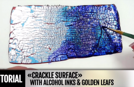 Alcohol Inks and Foil Crackle on Clay