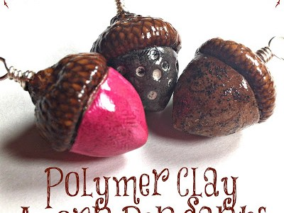 Polymer Clay Acorn Pendants