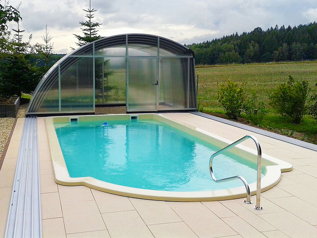 Pool Fertigbecken Komplettset B M Poly Pool Pools Schwimmbecken Poolüberdachung Mit