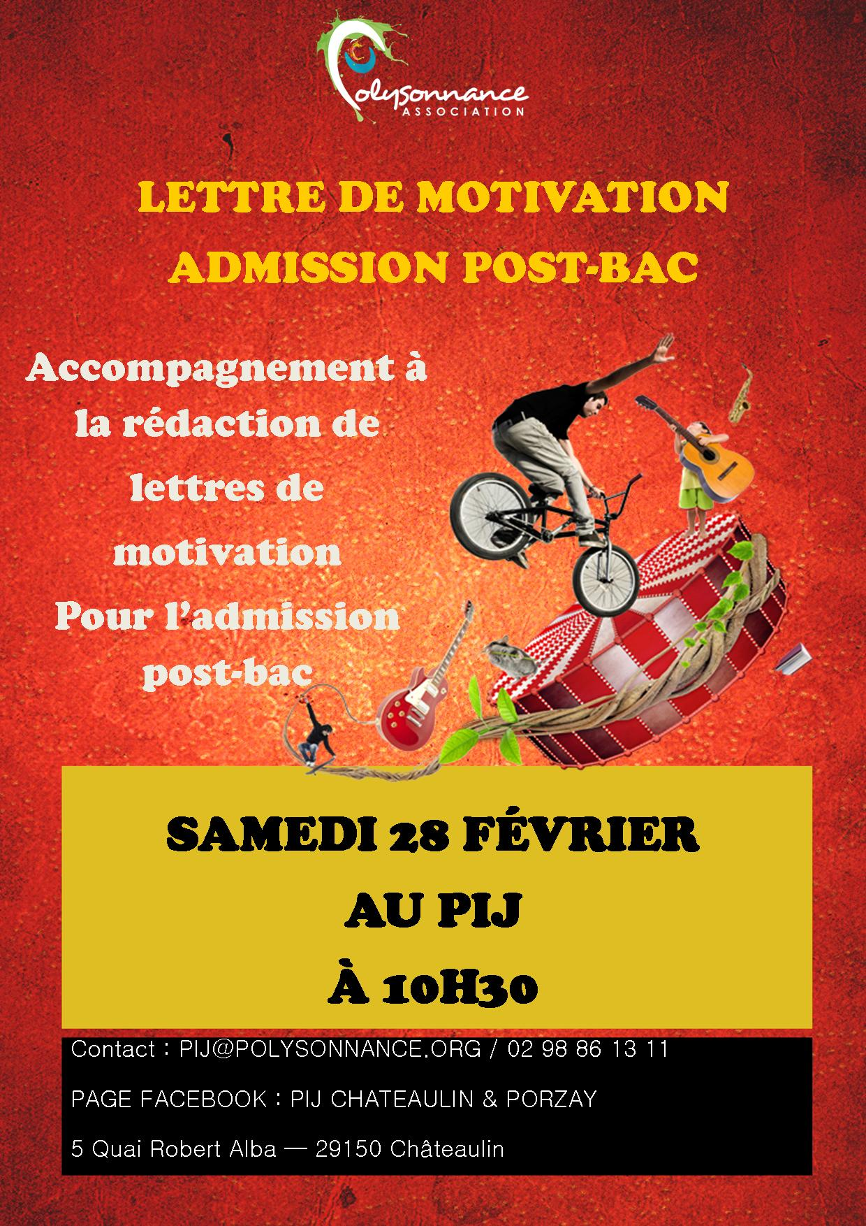 admission post bac cv et lettre de motivation