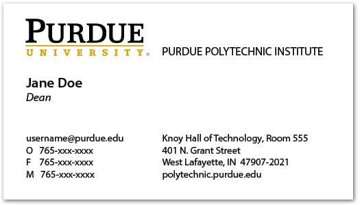 Business Cards and Name Badges - Purdue Polytechnic Institute - name card example