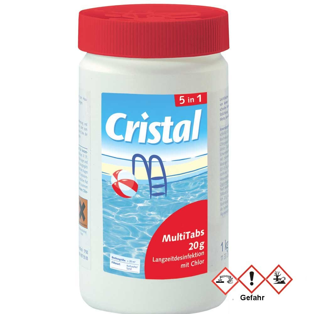 Chlortabletten Pool Inhaltsstoffe Cristal Multitabs 20g 5 In 1