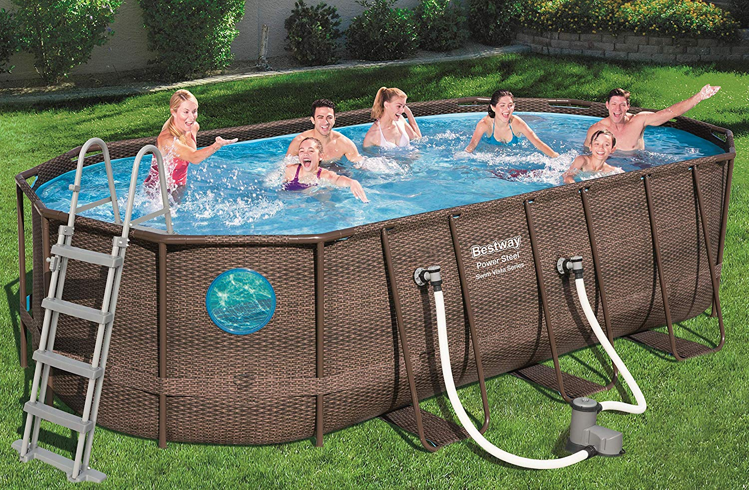 Bestway Pool Abdeckung Oval Bestway Power Steel Vista Oval Pool Set 549x274x122 Rattan