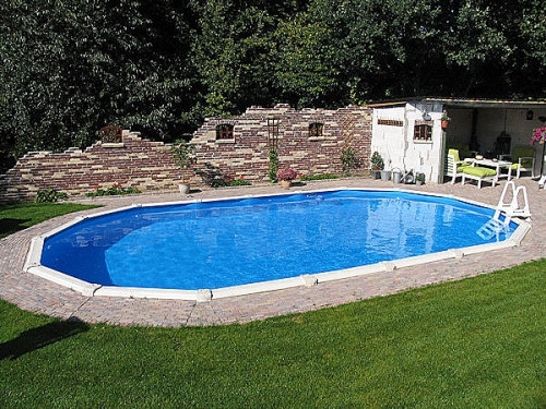 Günstige Pools Stahlwandpool Oval 6,10 X 3,60 X 1,32 M Center Pool
