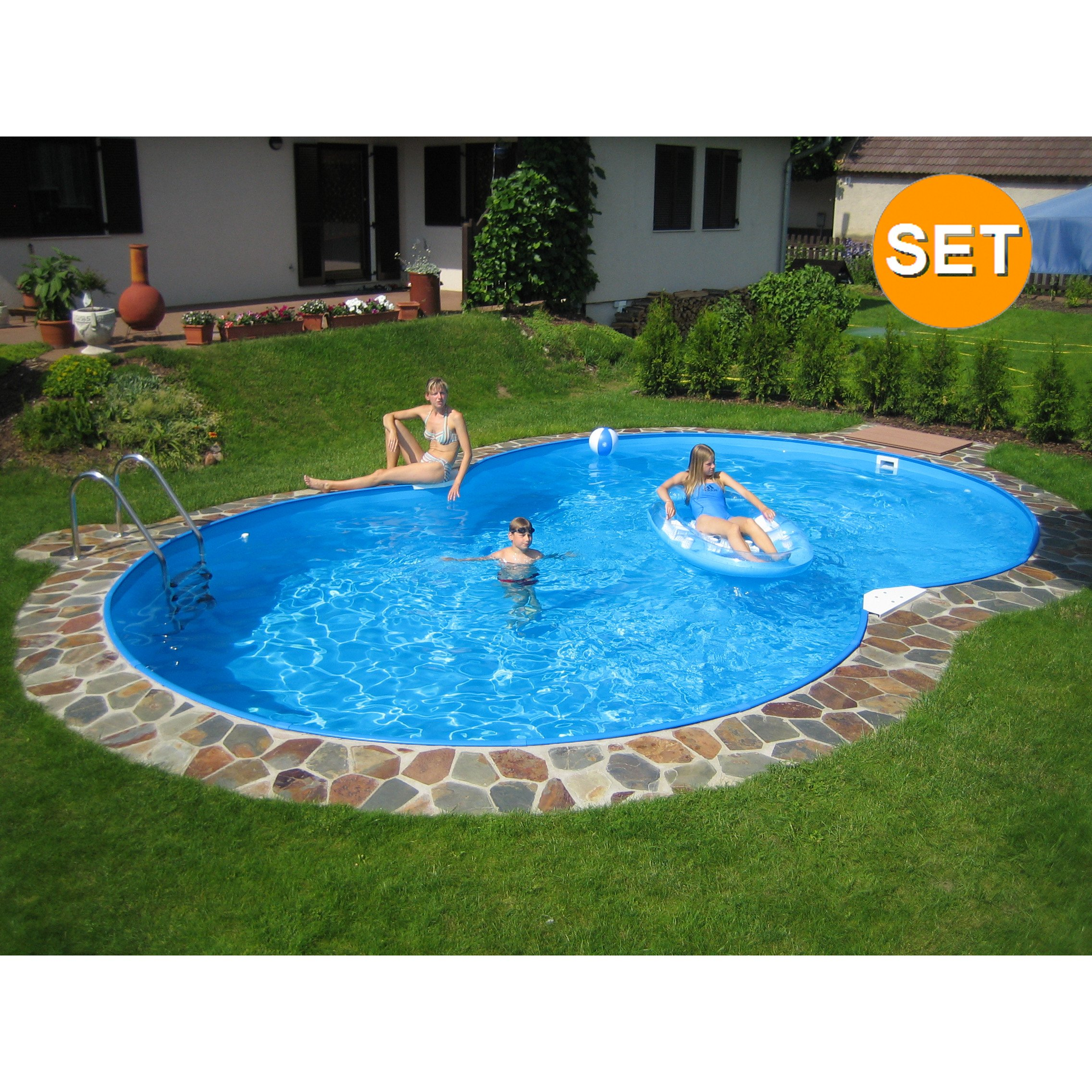 Pool Bodensauger Manuell Family Achtform Pool 855 X 500 X 150 Cm Komplettset